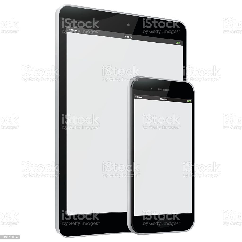 Black Tablet PC and Mobile Phone vector art illustration