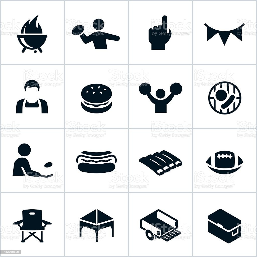 Black Tailgate Party Icons vector art illustration