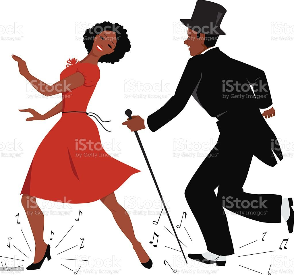 Black tap dance performers vector art illustration