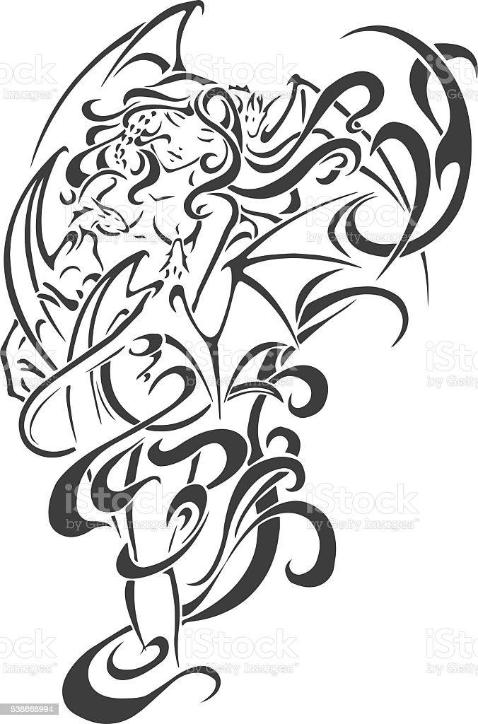 Black tattoo Woman vector. Men's tattoo. Women's tattoo. vector art illustration