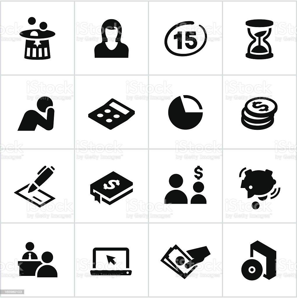 Black Tax Icons vector art illustration