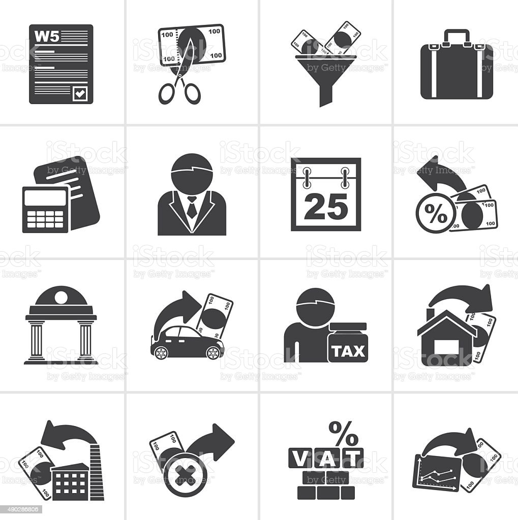 Black Taxes, business and finance icons vector art illustration