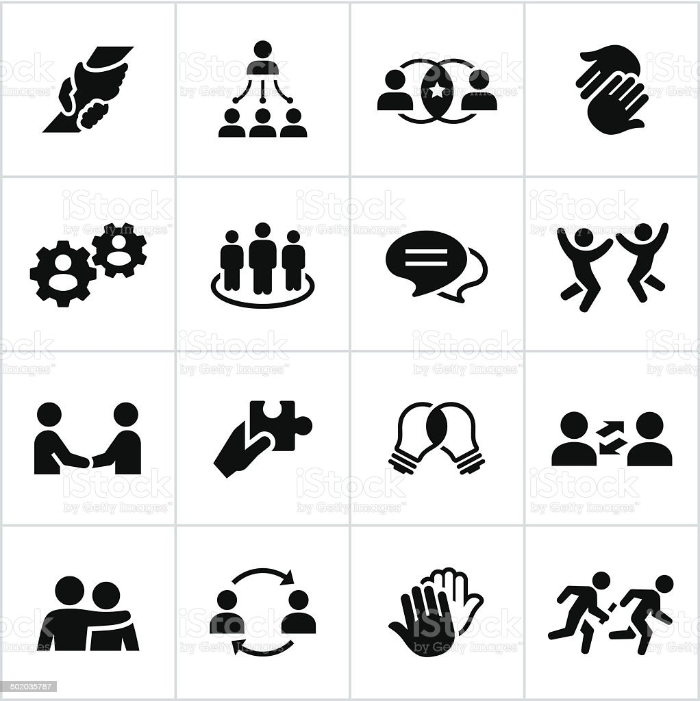 Black Teamwork Icons vector art illustration