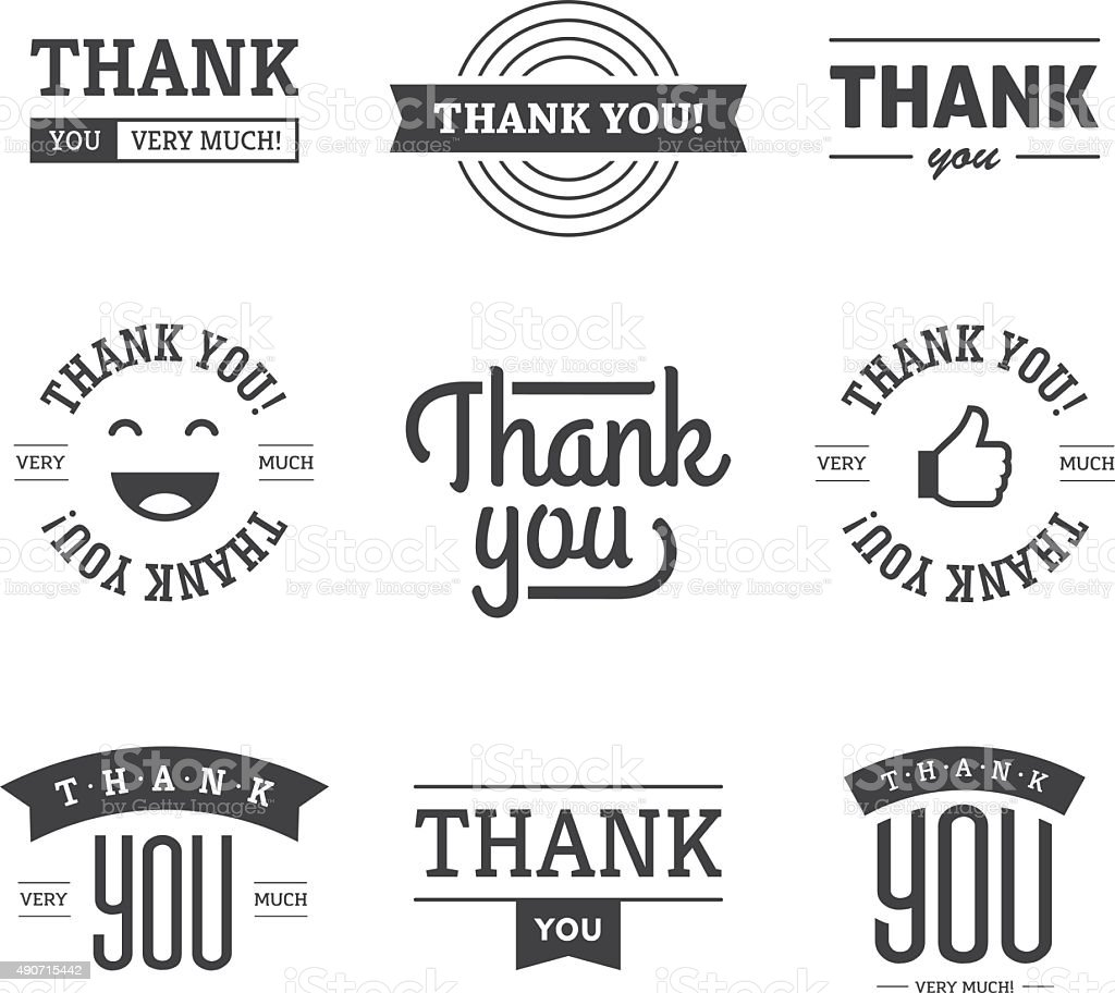 Black Thank you Labels and Signs vector art illustration