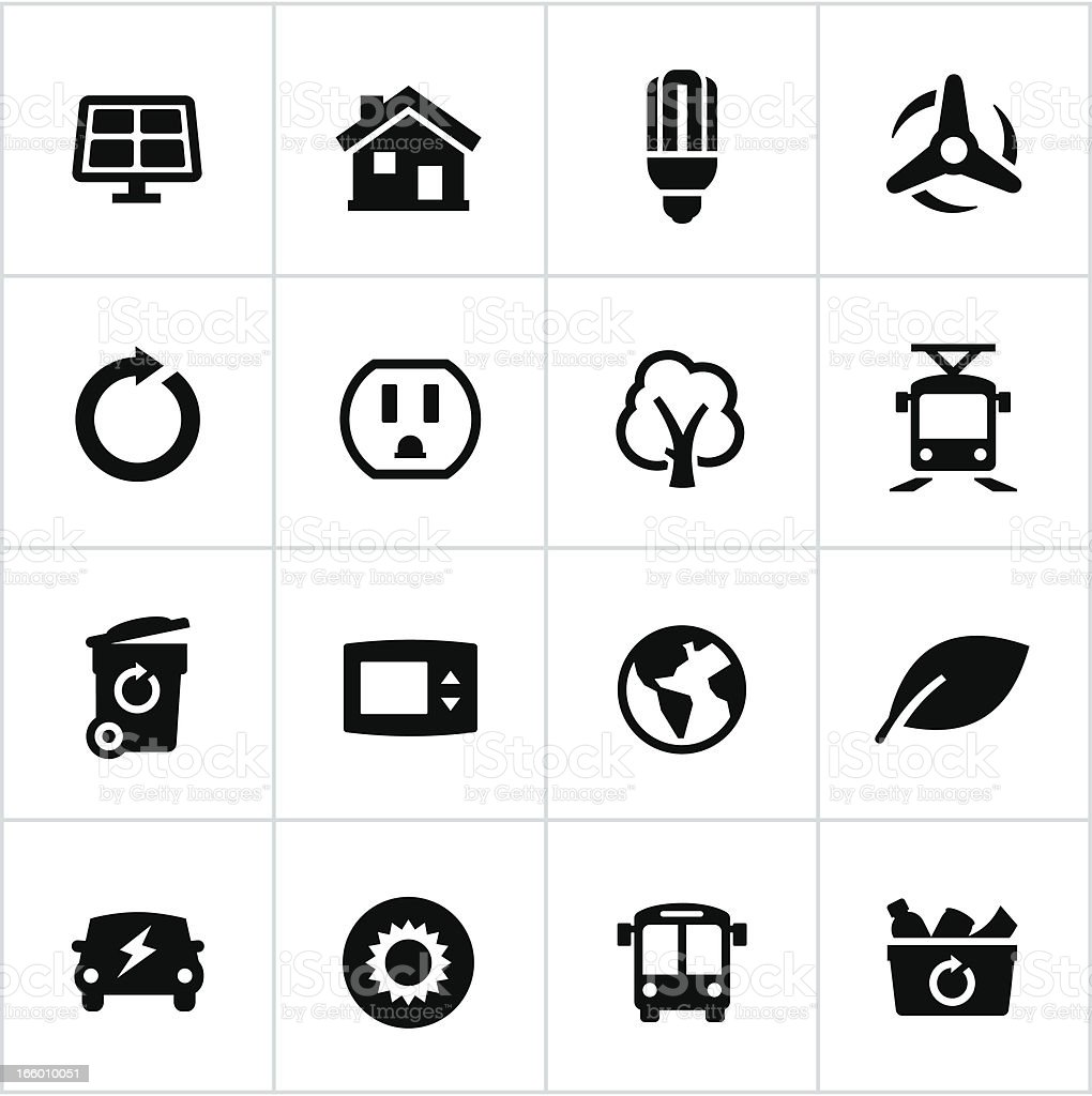 Black Thinking Green Icons vector art illustration