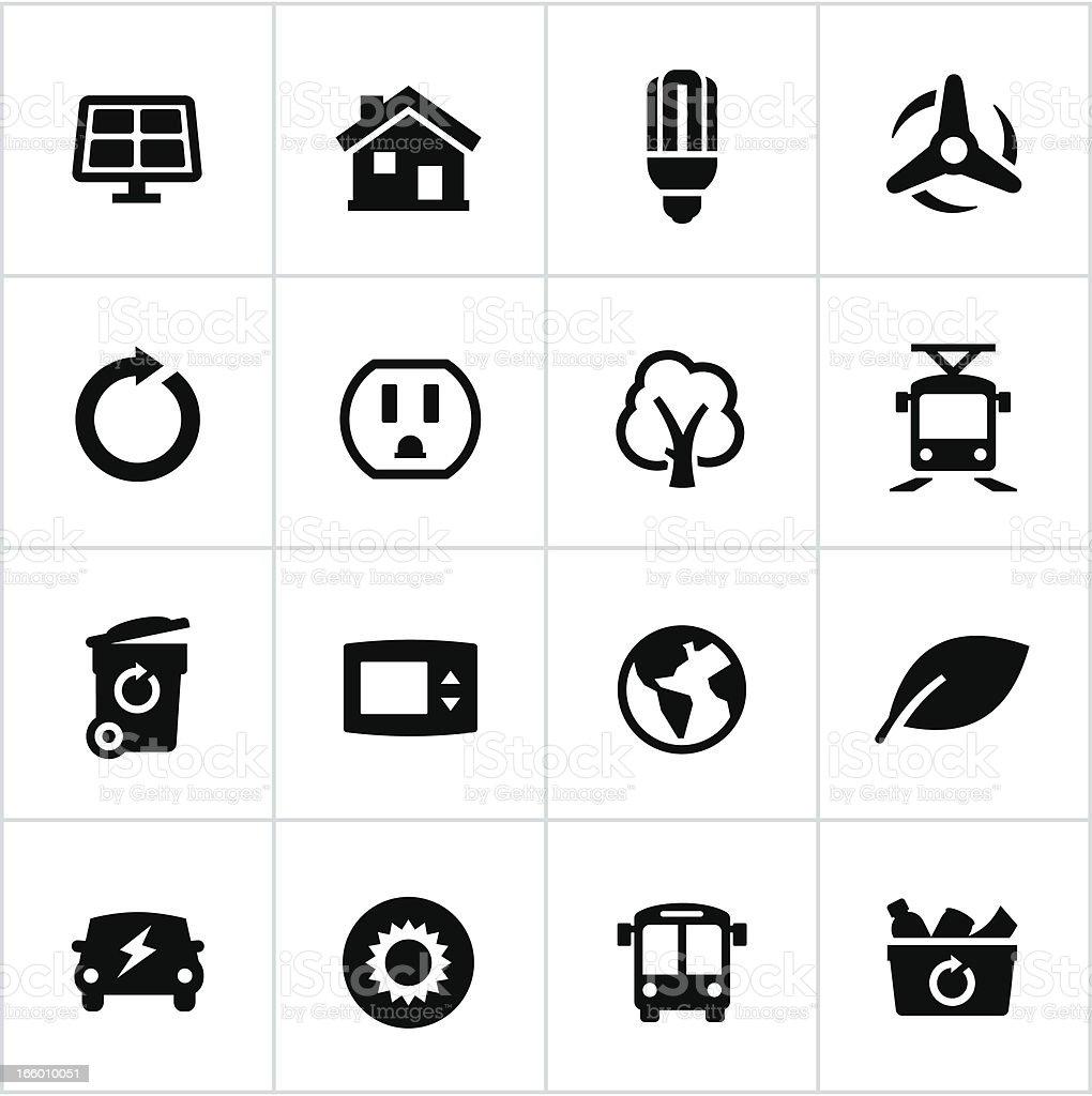 Black Thinking Green Icons vector art illustration