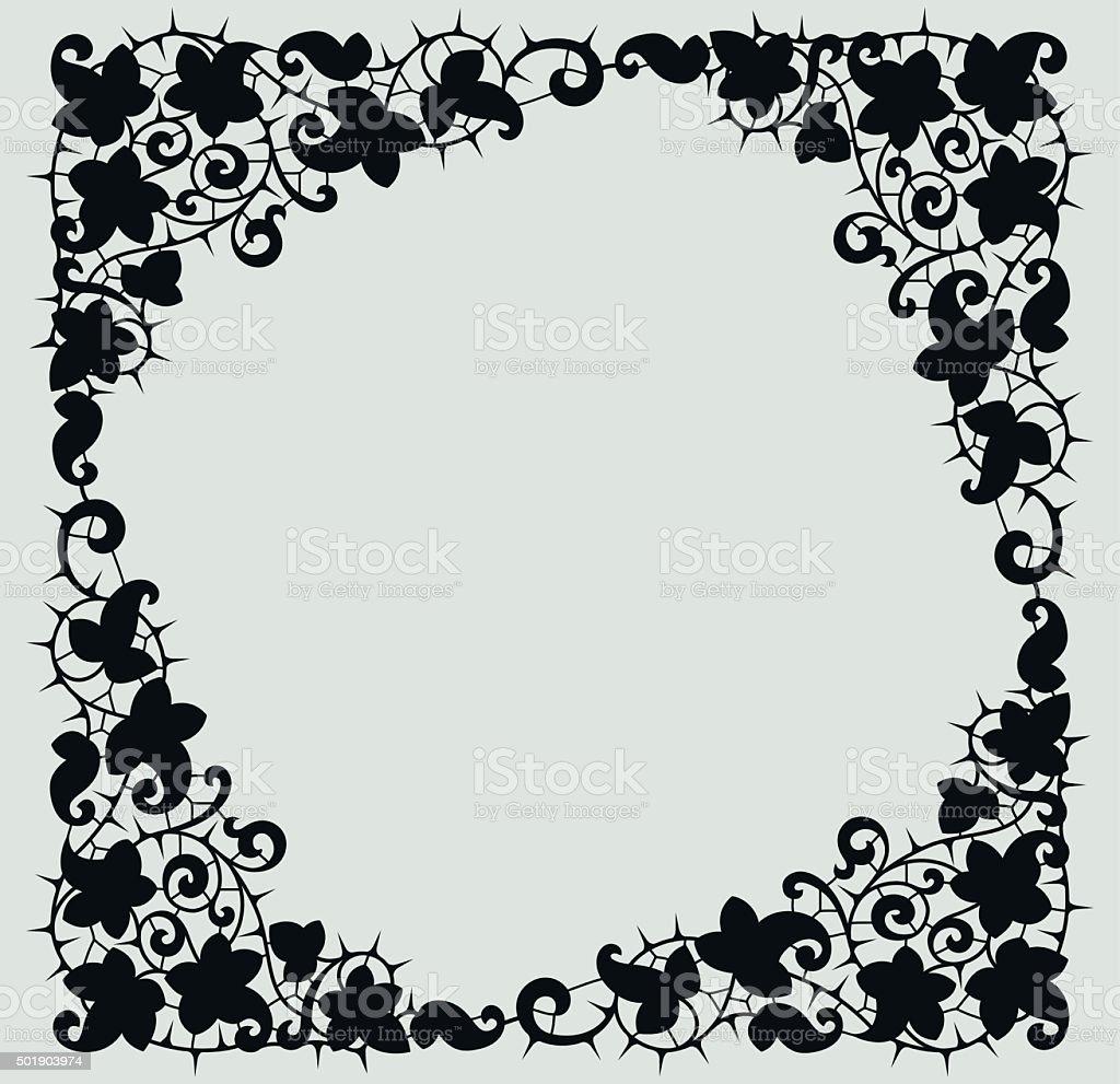 Black Thistle Frame. vector art illustration