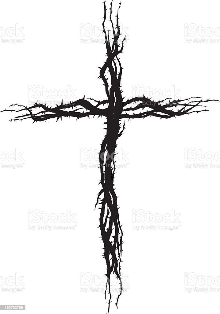Black thorn cross against white background vector art illustration
