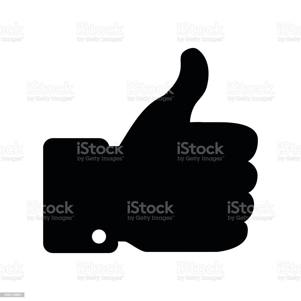 Black Thumb Up icon vector art illustration