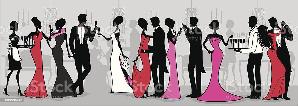 Black Tie Ball vector art illustration