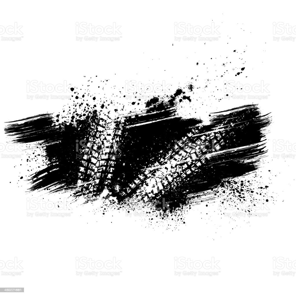 Black tire track background made from powder vector art illustration