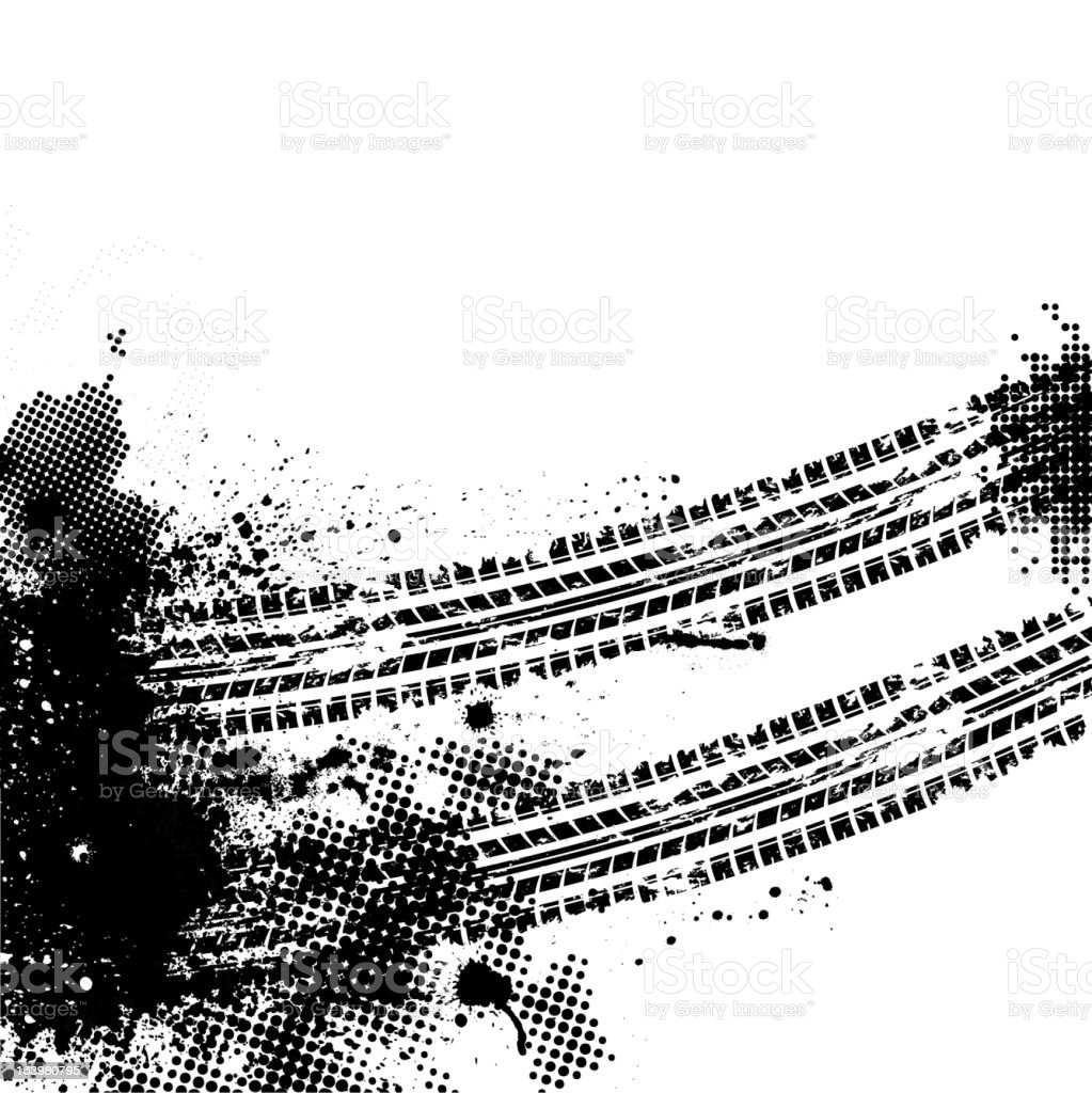 Black tire tracks on white background royalty-free stock vector art