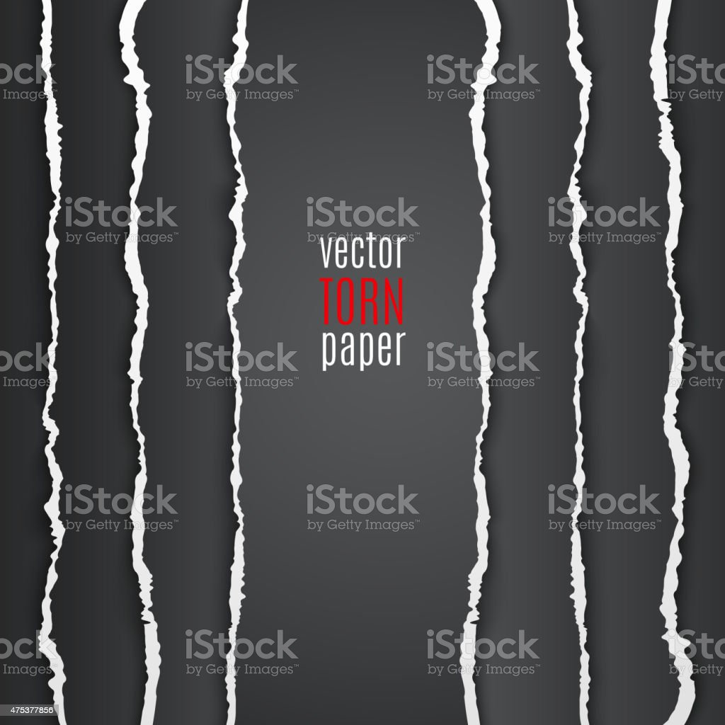 Black torn paper vector art illustration