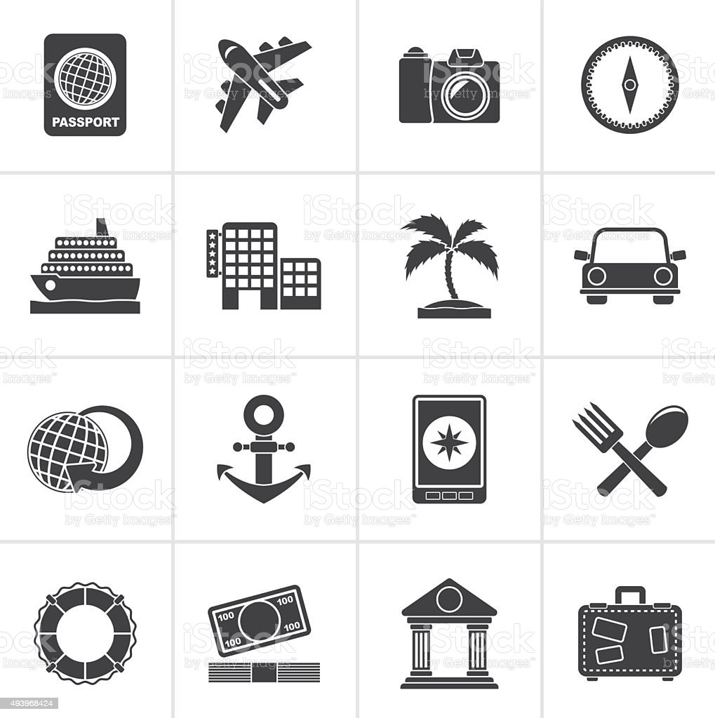 Black Tourism and Travel Icons vector art illustration
