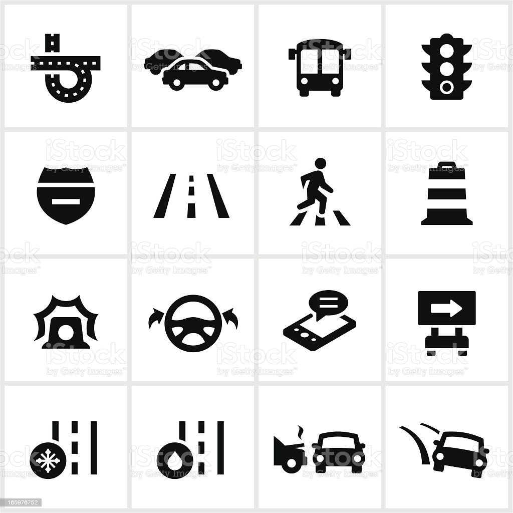 Black Traffic Icons vector art illustration