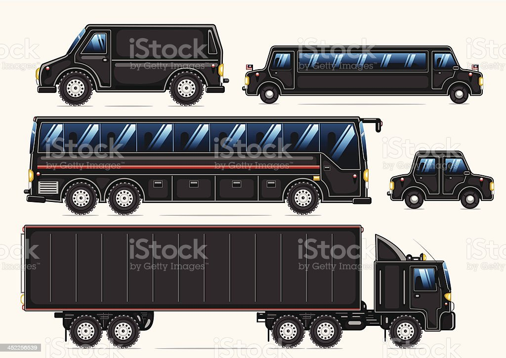 black transport collection royalty-free stock vector art