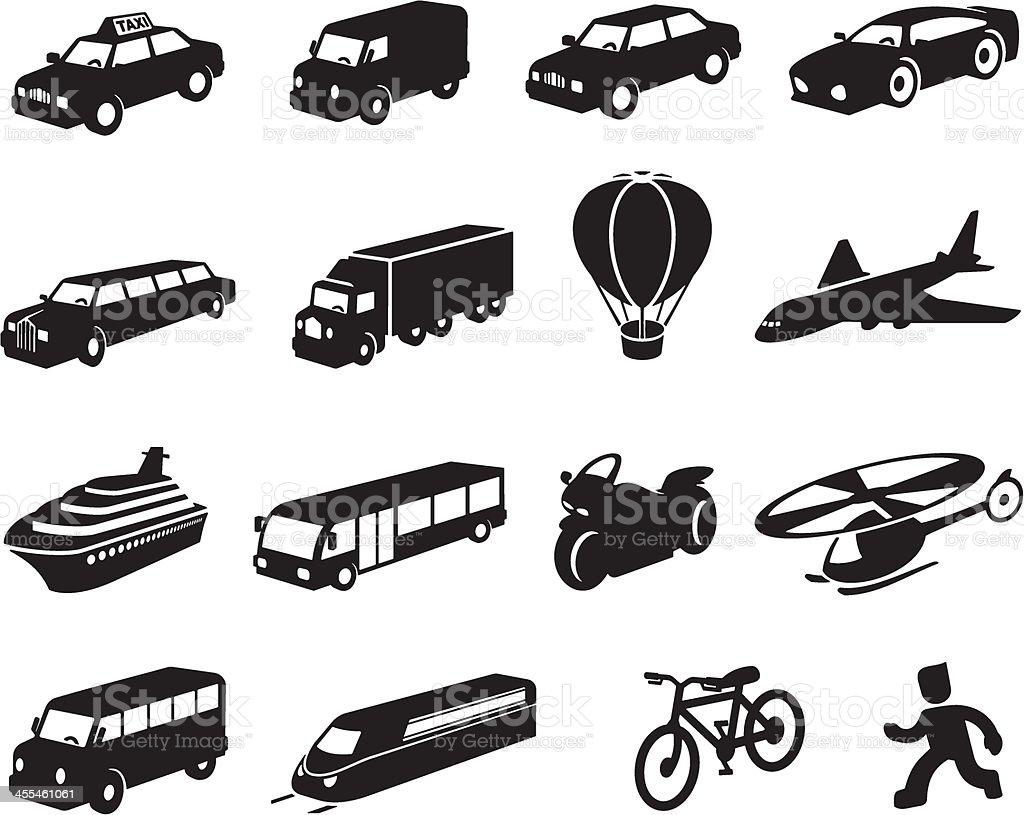 Black Transport Icon Set vector art illustration