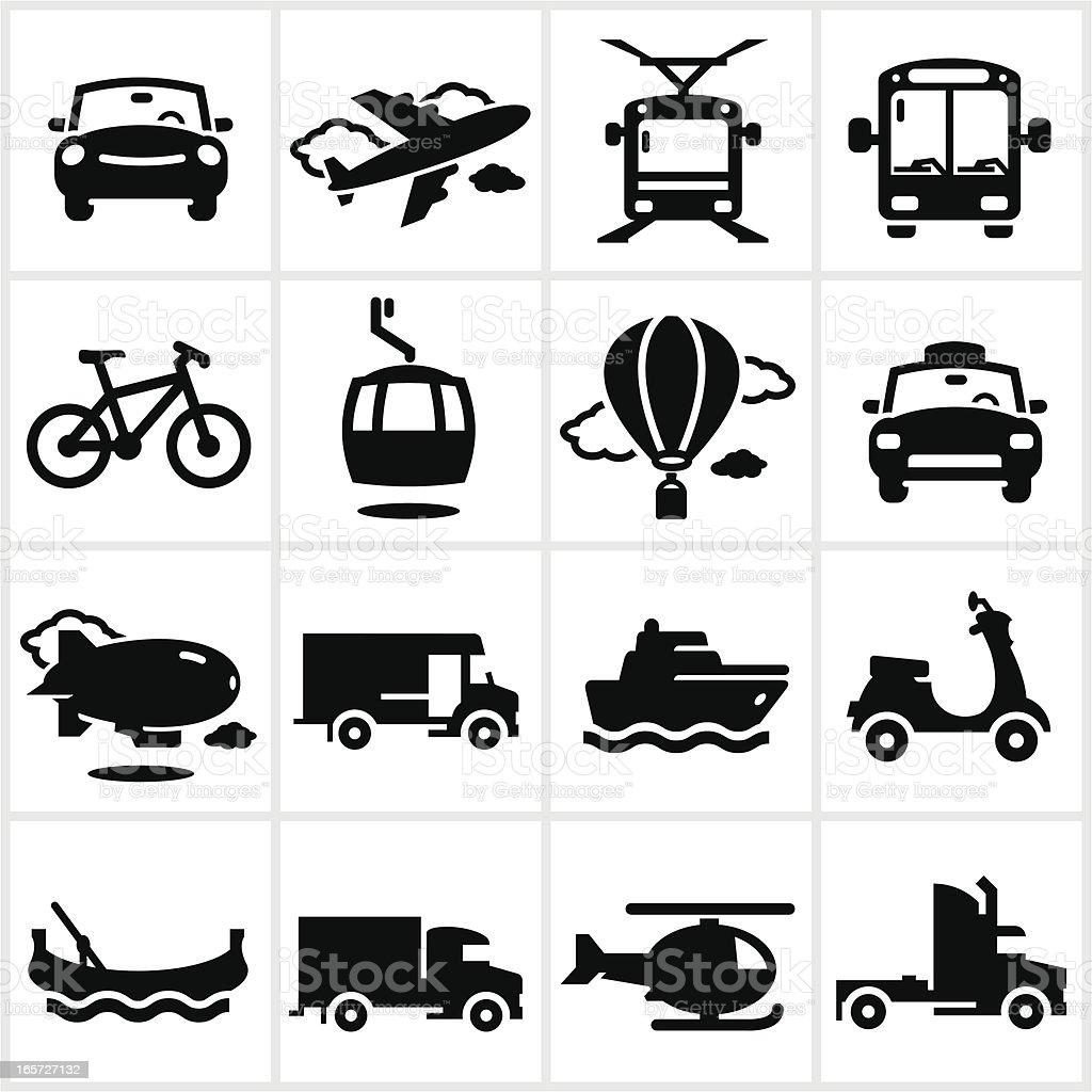 Black Transportation Icons vector art illustration
