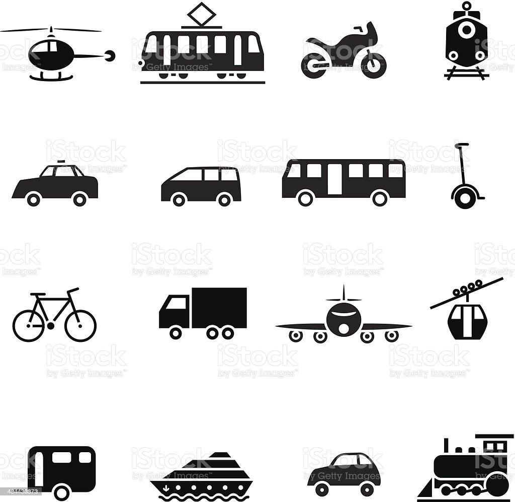 Black transportation set icon vector art illustration