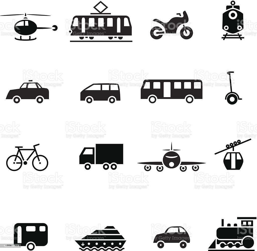 Black transportation set icon vector art illustration
