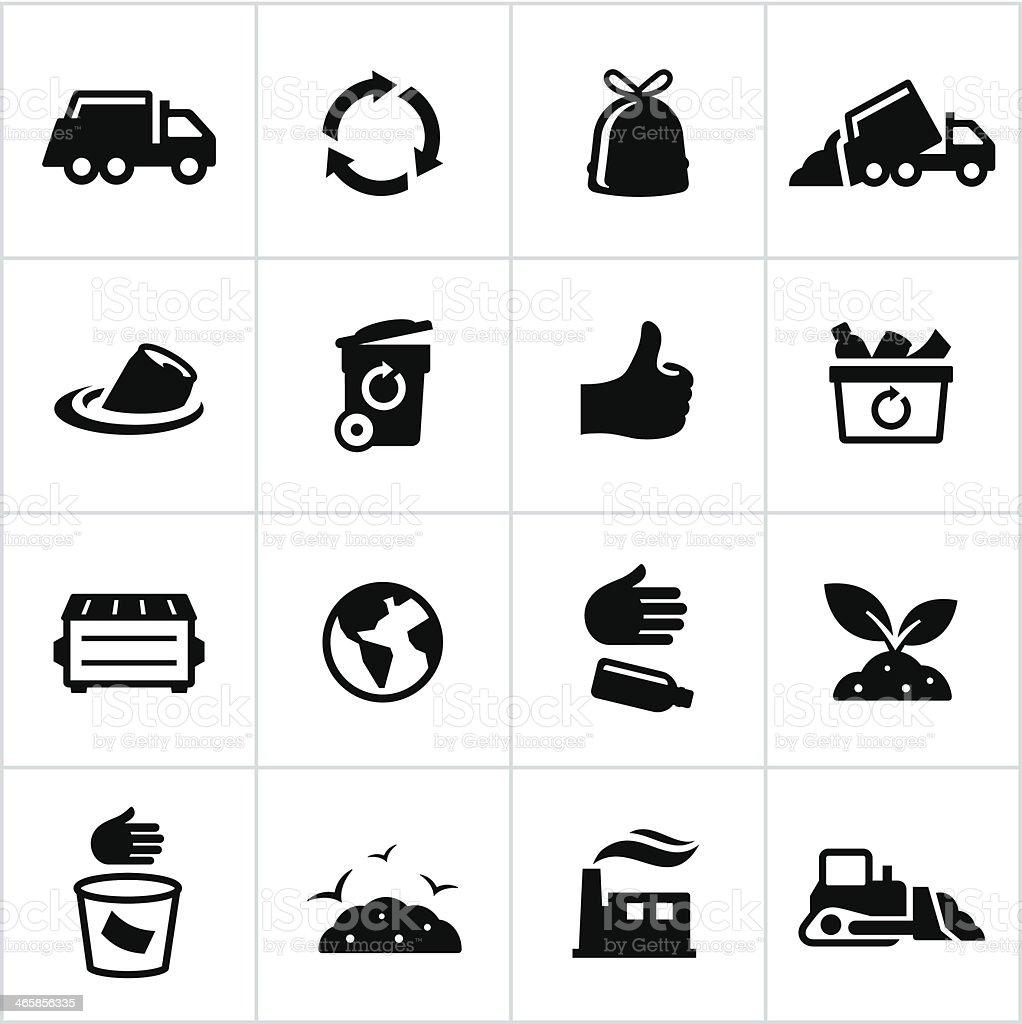 Black Trash Management Icons vector art illustration