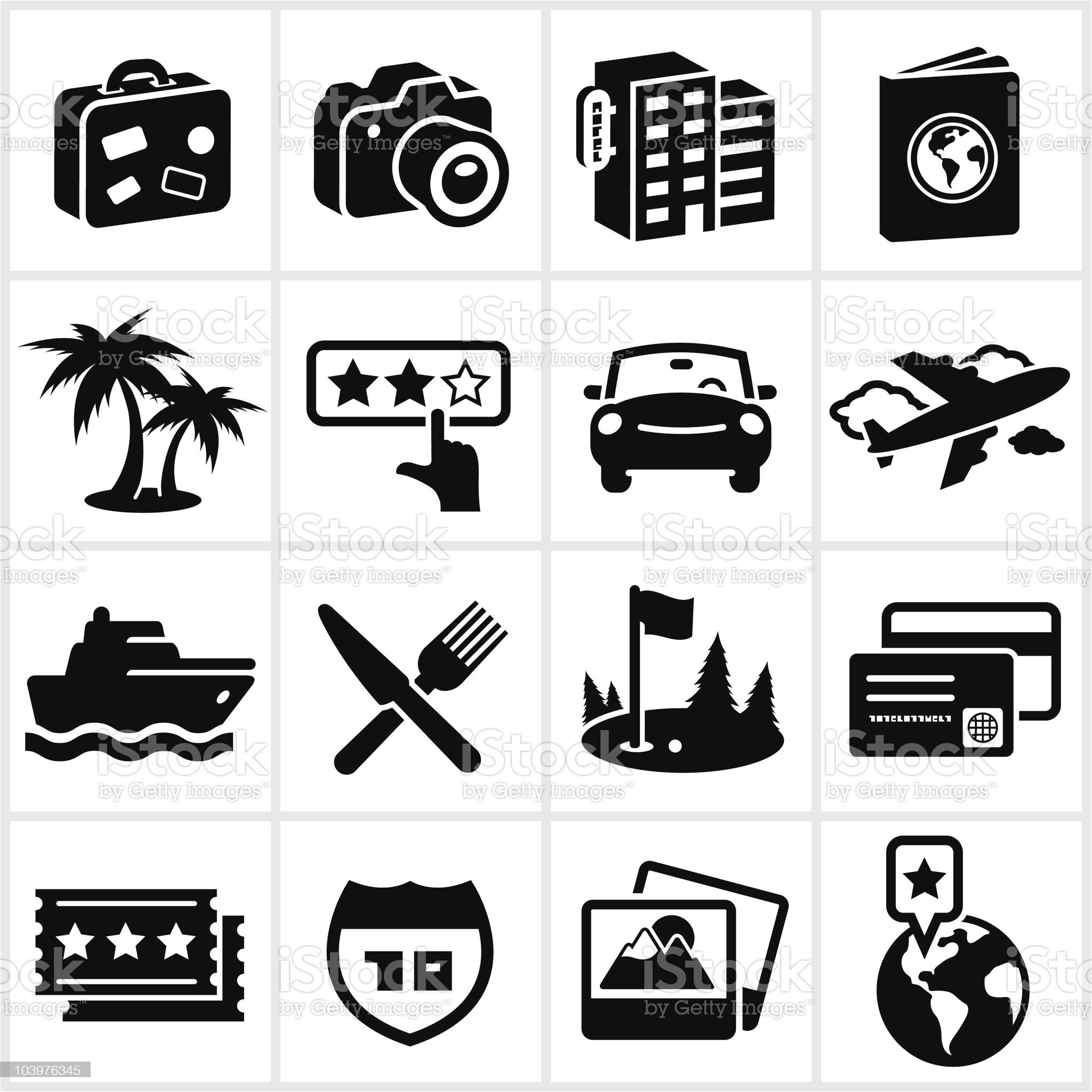 Black Travel and Vacation Icons royalty-free stock vector art