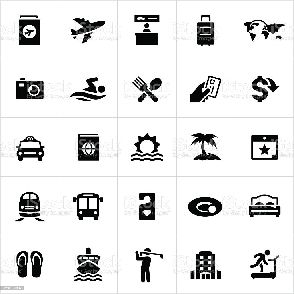 Black Travel and Vacation Icons vector art illustration