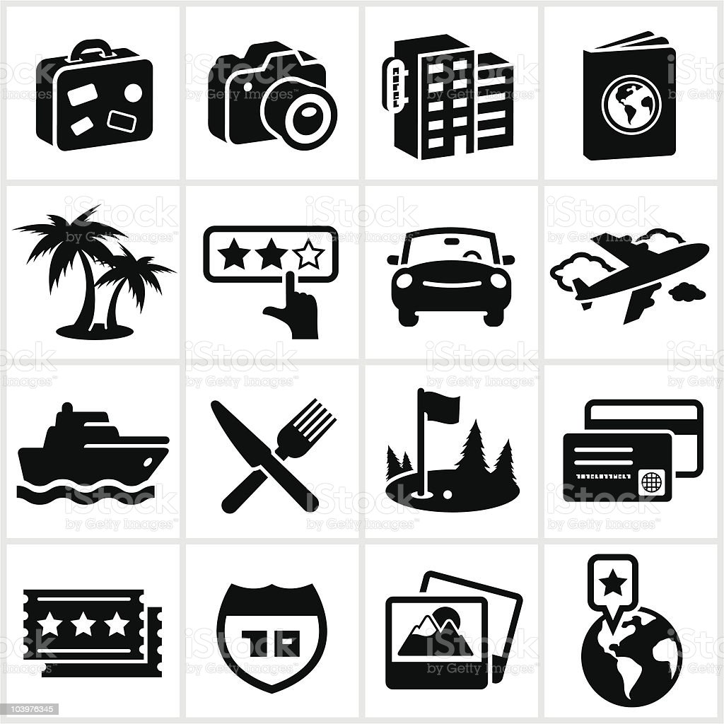 Black Travel Icons vector art illustration