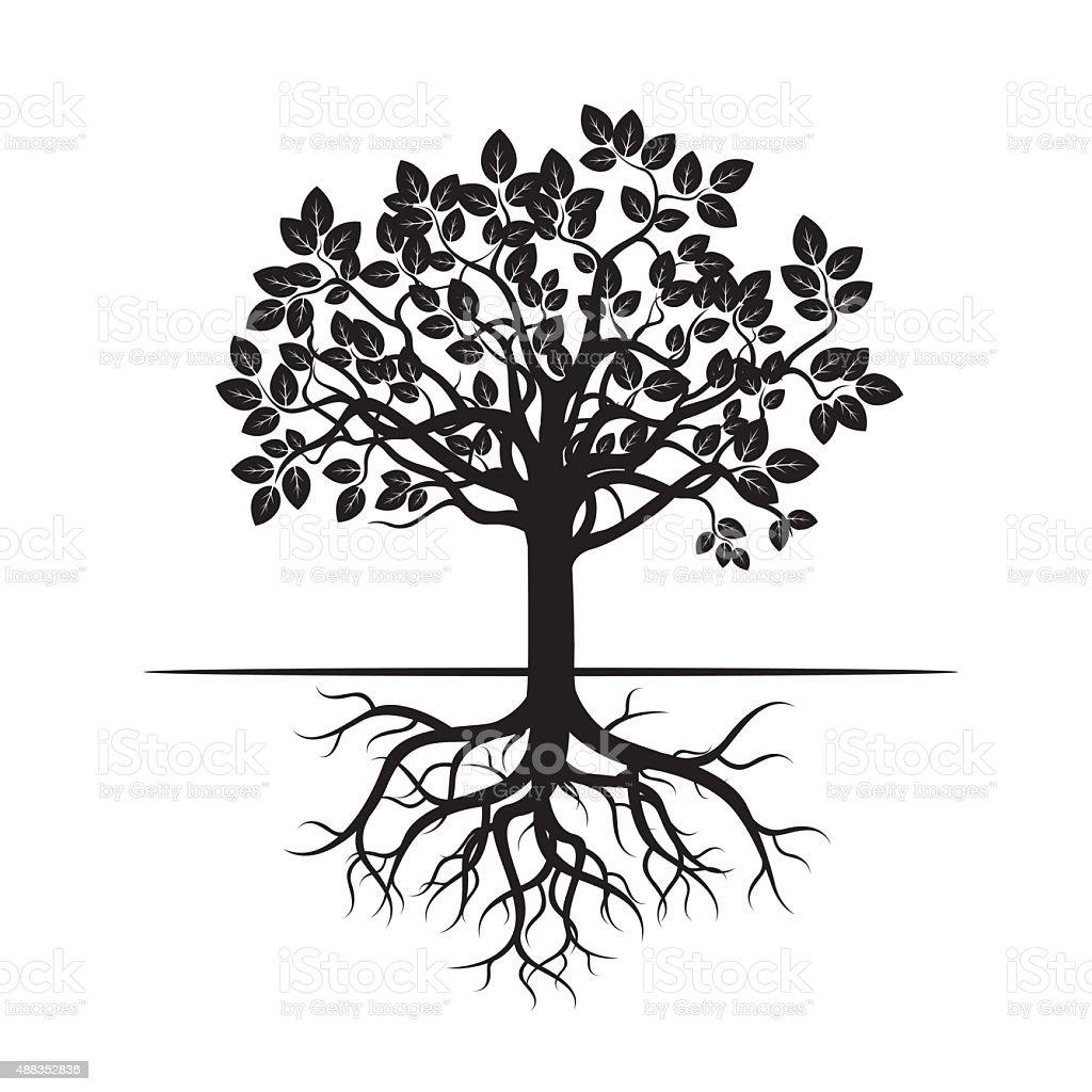 Black Tree and Roots. Vector Illustration. vector art illustration