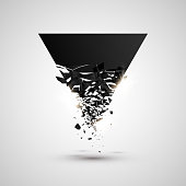Black triangle with debris. Abstract explosion. Geometric background. Vector