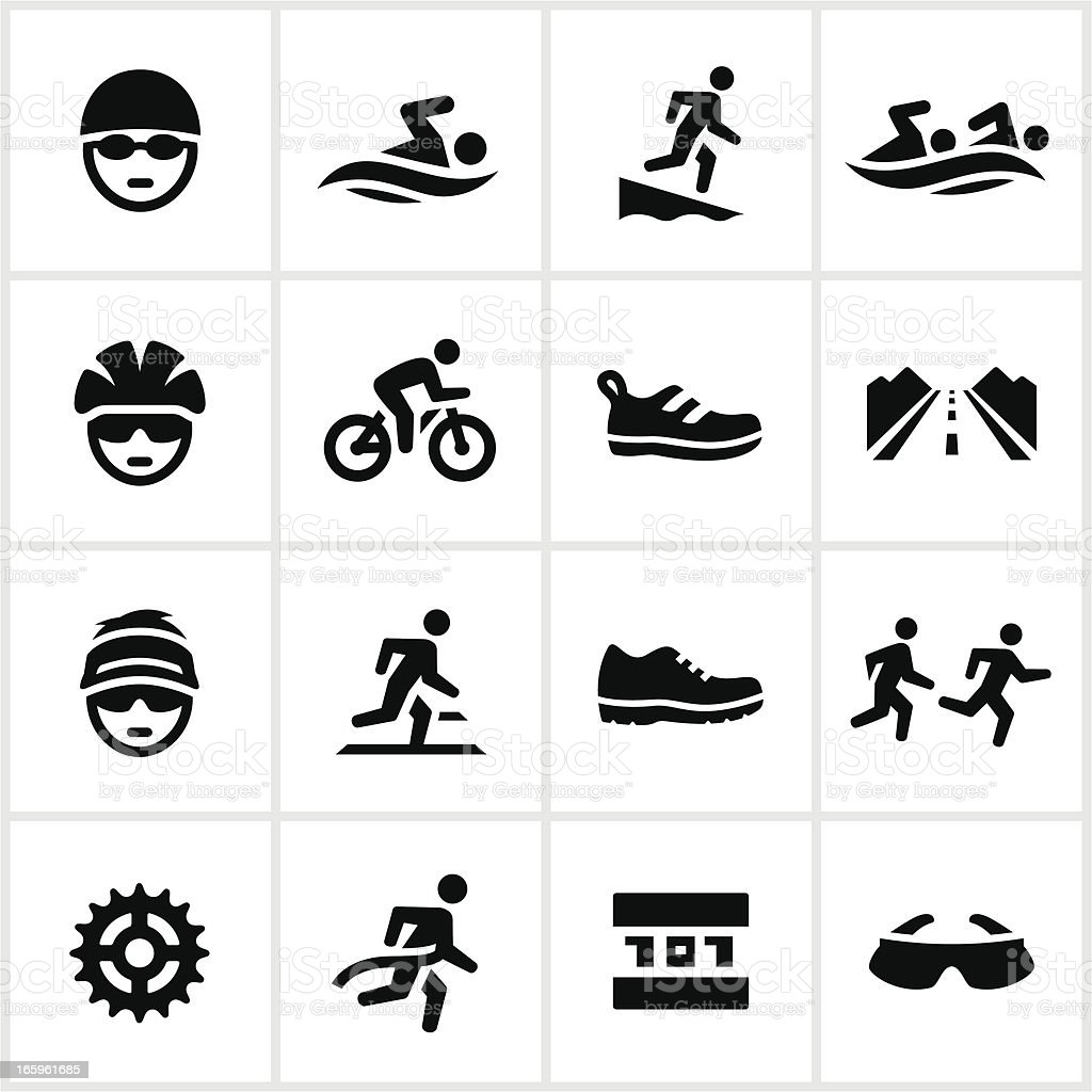 Black Triathlon Icons vector art illustration