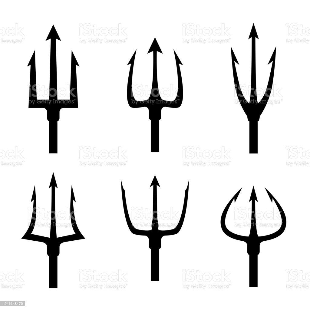 Black trident silhouette vector set vector art illustration
