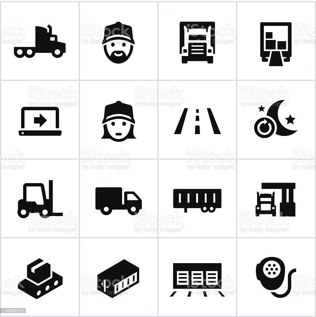 Black Trucking Icons vector art illustration