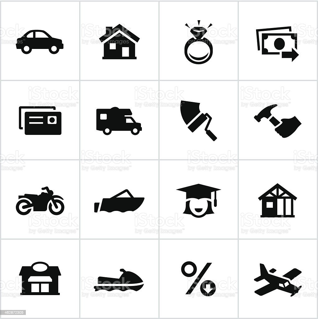 Black Types of Loans Icons vector art illustration