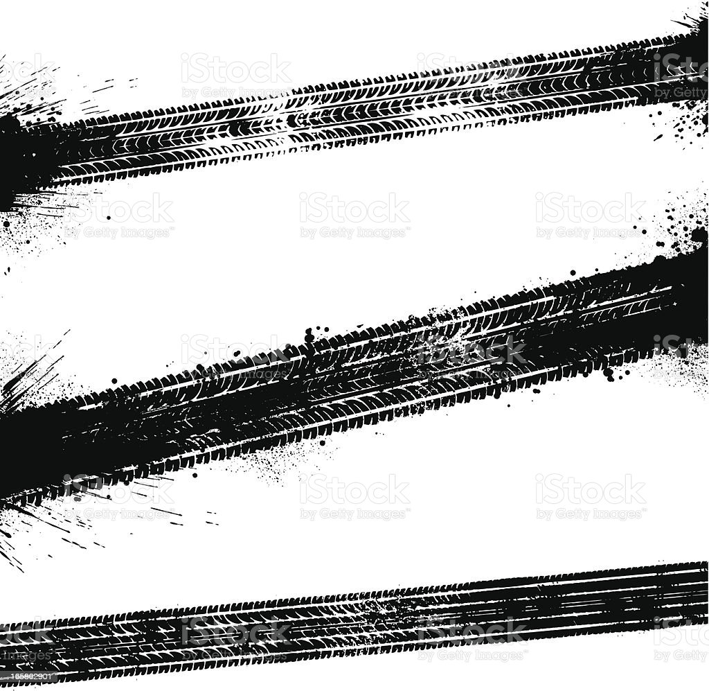 Black tyre tracks vector art illustration