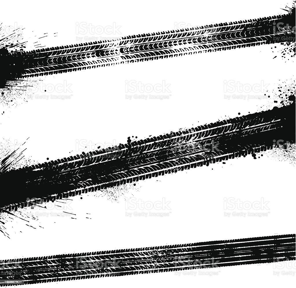Black tyre tracks vector art illustration