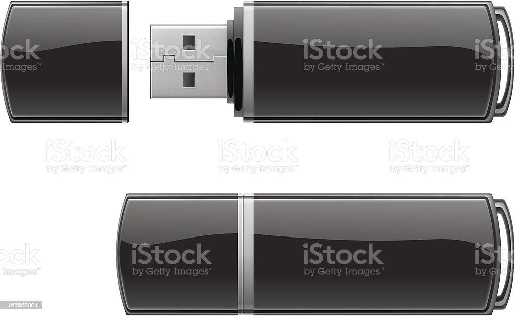 Black USB flash storage vector art illustration