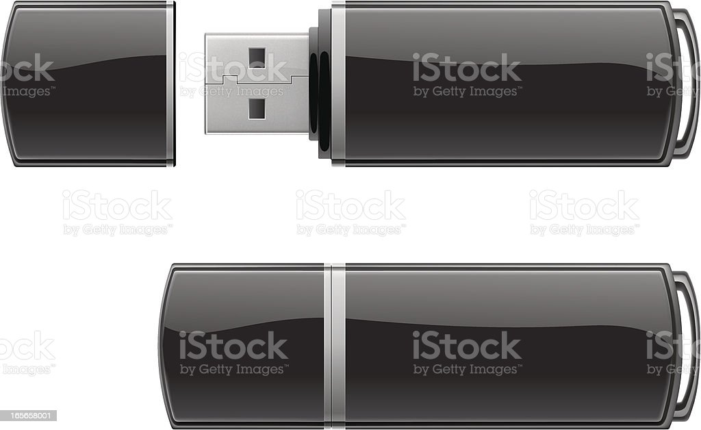 Black USB flash storage vector art illustration