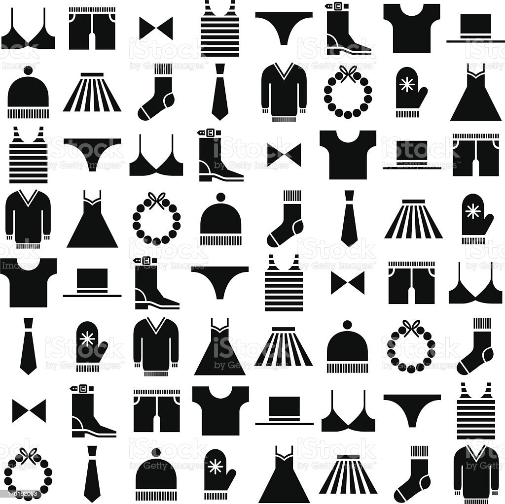 black vector clothing icons vector art illustration