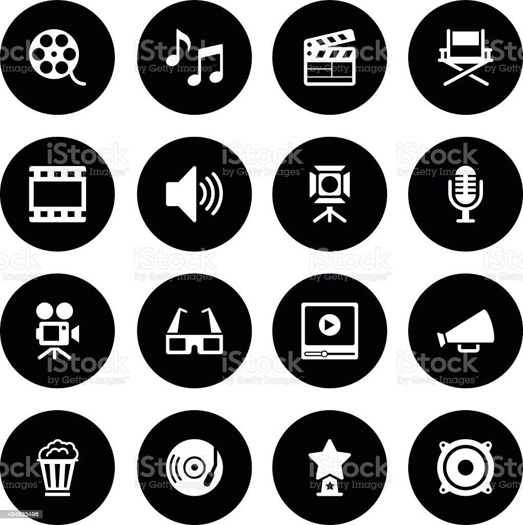 Black Vector Film Industry - 16 Icons vector art illustration