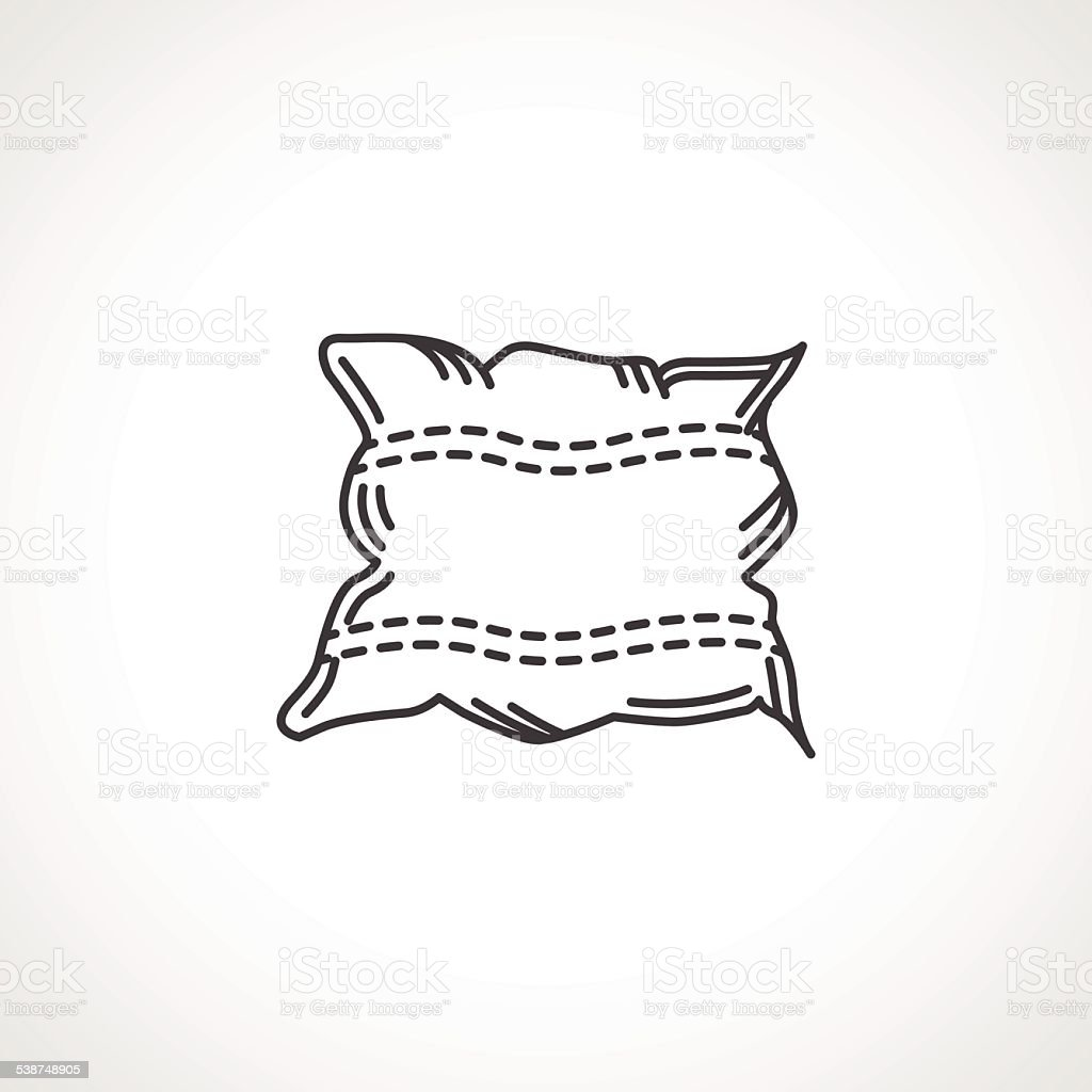 Black vector icon for pillow vector art illustration