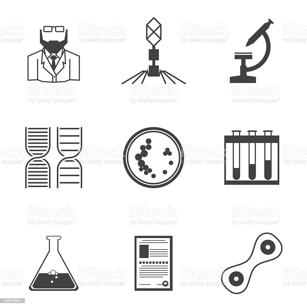 Black vector icons for bacteriology vector art illustration