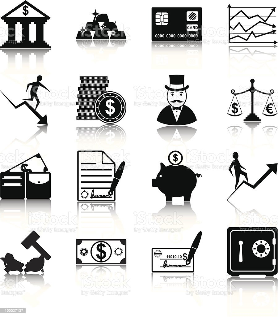 Black vector icons of finance elements on white background royalty-free stock vector art