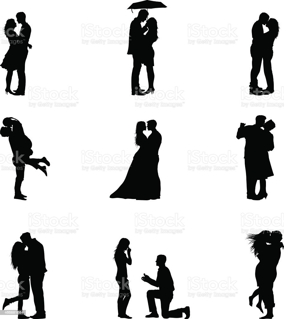Black Vector Illustration Silhouette Couples In Love vector art illustration