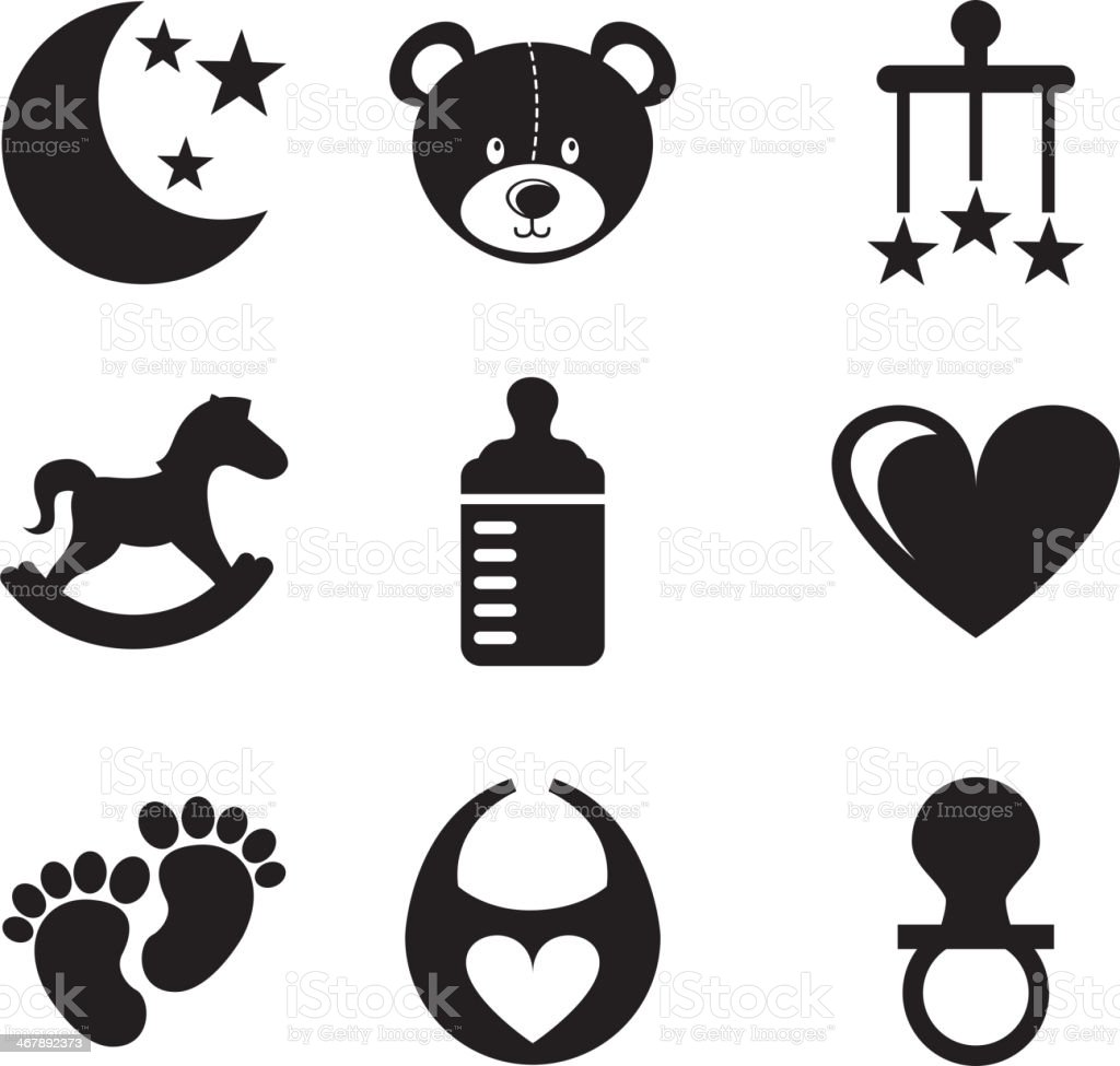 Black vector illustrations of toys vector art illustration