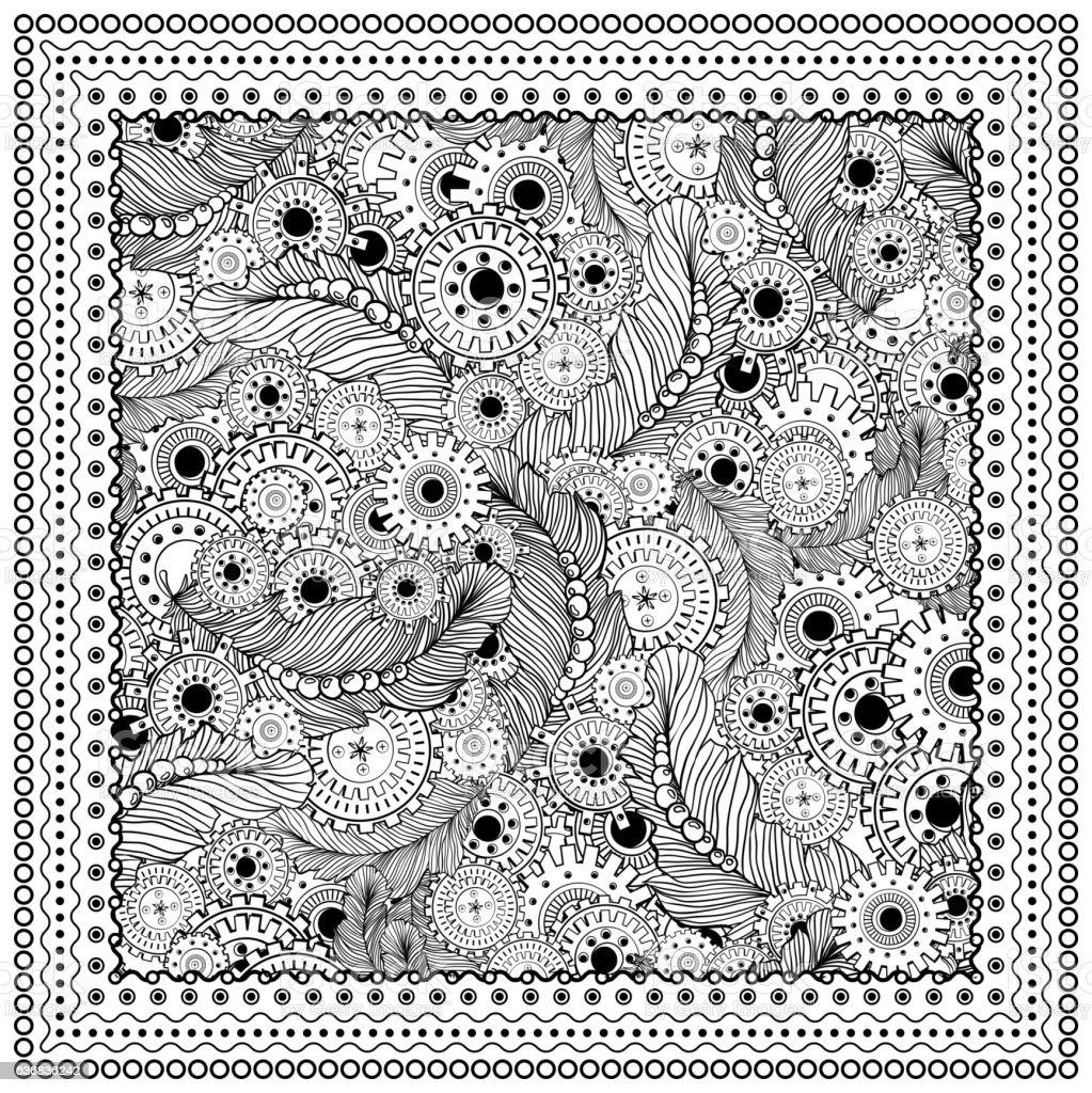 Black vector mono color illustration. vector art illustration