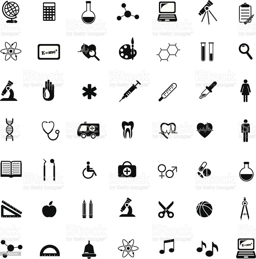 Black vector science, medical and education icons vector art illustration