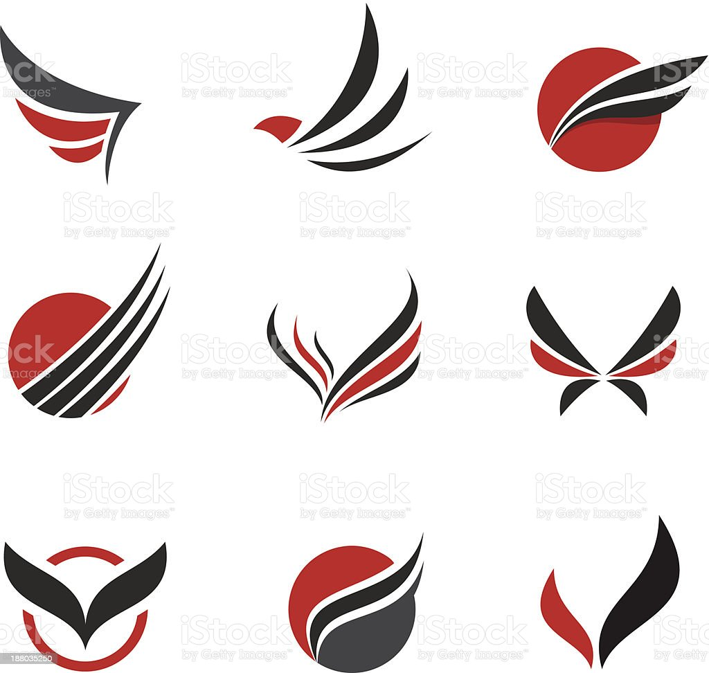 Black Vector set of wing symbols vector art illustration