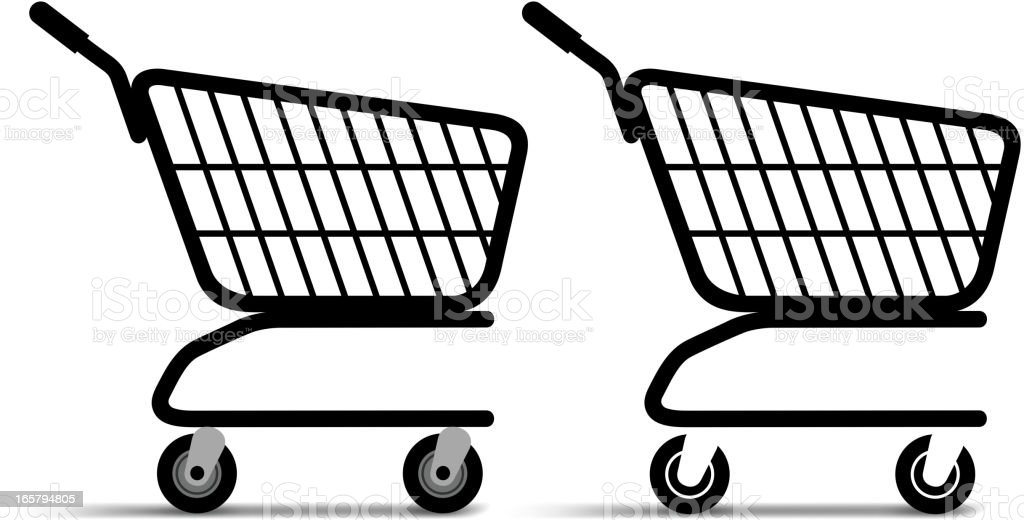 Black vector shopping carts isolated on white royalty-free stock vector art