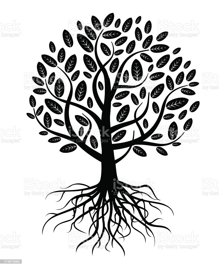 Black vector tree and roots vector art illustration